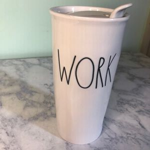 "Rae Dunn ""WORK"" travel mug"